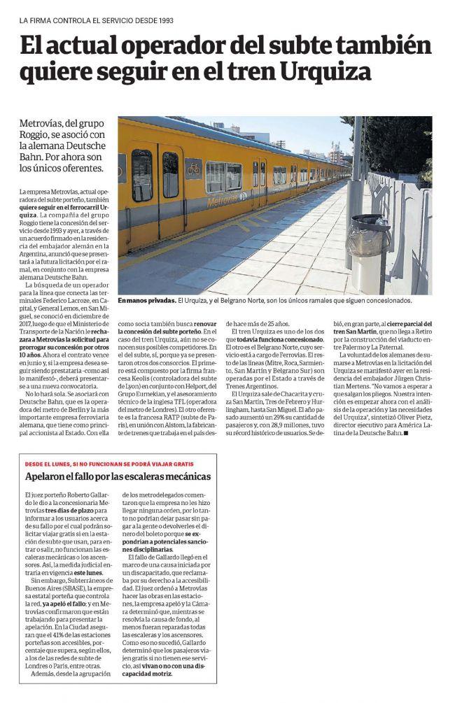 El actual operador del subte también quiere seguir en el tren Urquiza_Clarín