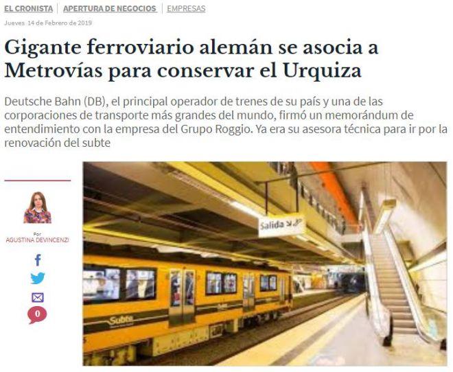 Gigante ferroviario alemán se asocia a Metrovías para conservar el Urquiza_El Cronista
