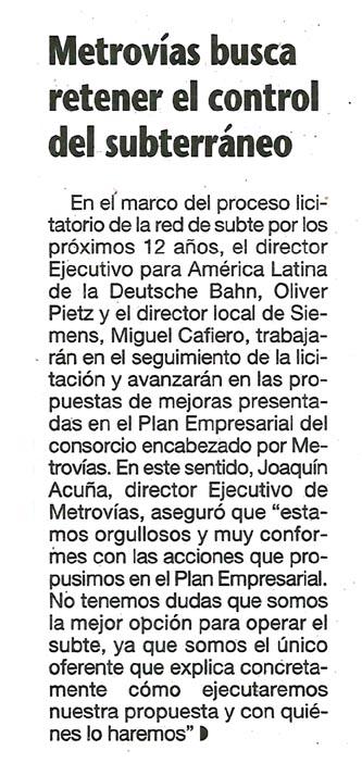 Metrovías busca retener el control del Subterráneo_La Prensa