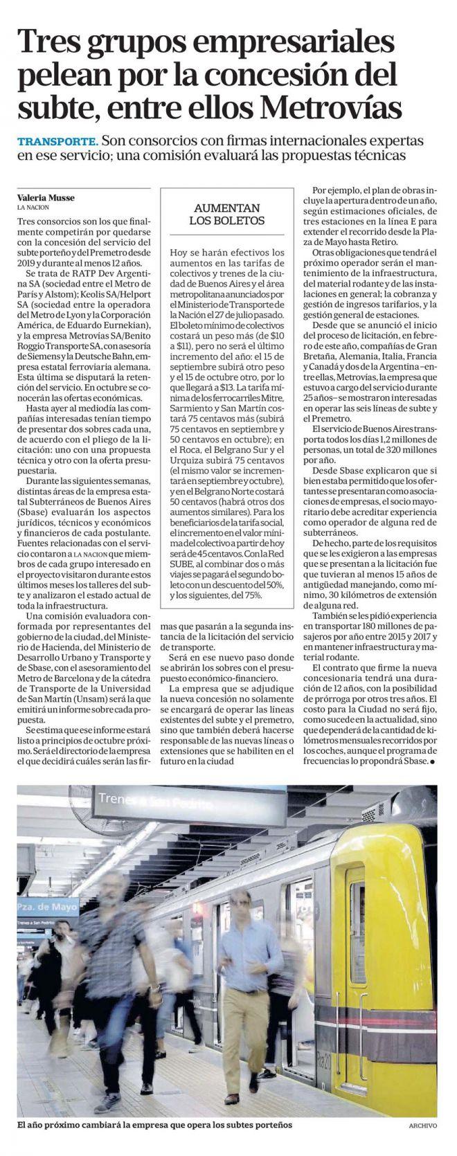 Tres grupos empresariales pelean por la concesión del subte, entre ellos Metrovías_La Nación