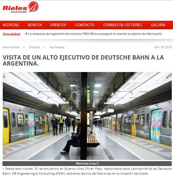 VISITA DE UN ALTO EJECUTIVO DE DEUTSCHE BAHN A LA ARGENTINA_Rieles