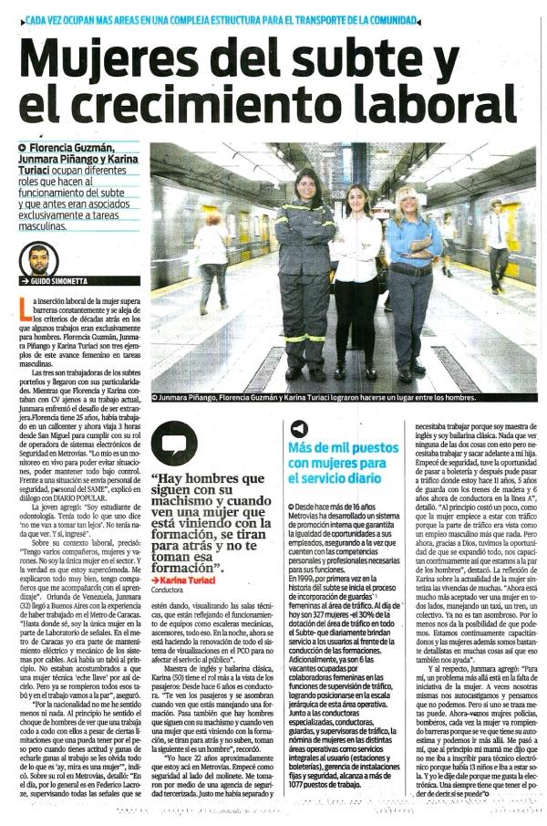 DIARIO POPULAR - Mujeres del Subte y el crecimiento laboral - 8-3-2020