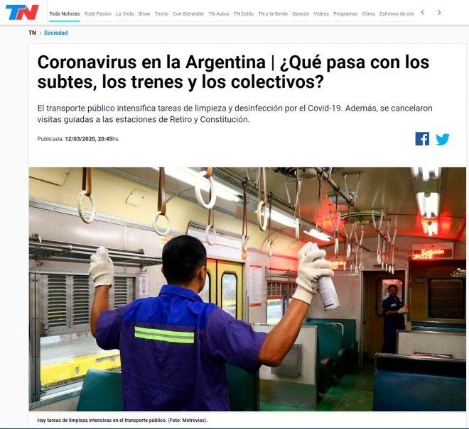 TN - Coronavirus en Argentina. Qué pasa con los subtes, trenes y los colectivos - 13-3-2020