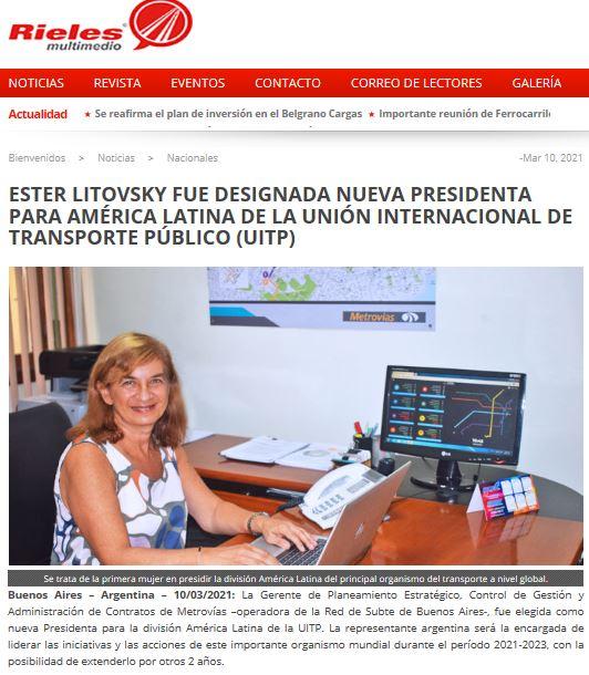 Ester Litovsky fue designada nueva Presidenta para América Latina de la Unión Internacional de Transporte Público (UITP)