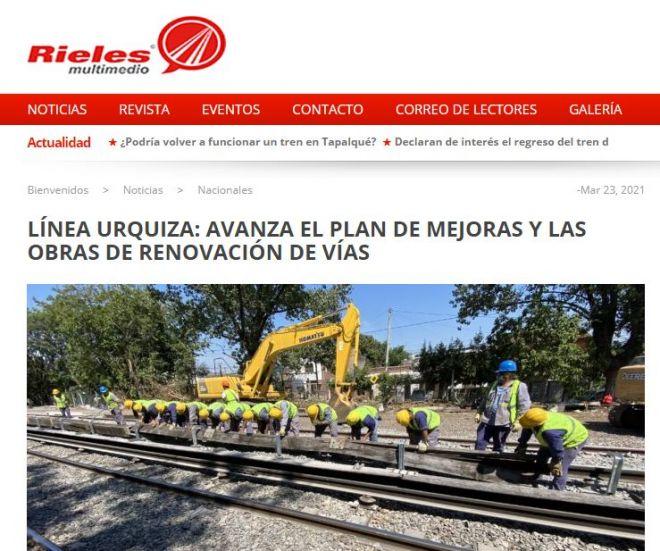 LÍNEA URQUIZA: AVANZA EL PLAN DE MEJORAS Y LAS OBRAS DE RENOVACIÓN DE VÍAS